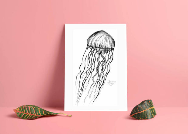 Jellyfish Sea Jelly Art Print - Nautical Drawing - A4
