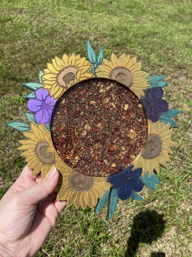 Sunflower Floral Tray - Gold and Copper Foil