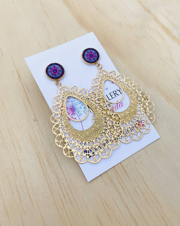 Stainless Steel Gold Purple Mandala Filigree Earrings