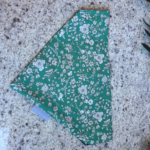 Pet Bandana - Double sided Green Floral and Blue Denim (Personalisation Optional)
