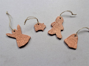 Christmas ceramic ornaments set, outdoor shabby pottery gingerbread cookies, gift tags