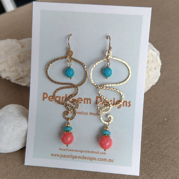 Coral & Turquoise Gold Organic Scroll Earrings