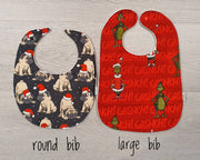 Christmas Baby Bib - Aussie Animals (White)