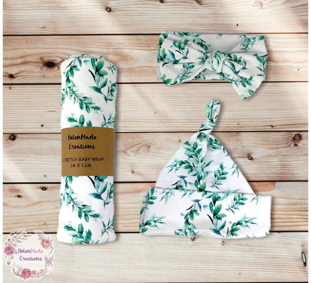 Green Watercolour Leaves Stretch Wrap