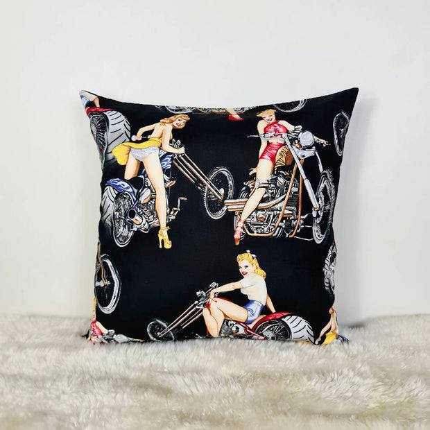 Pinups on motorcycles Cushion Cover (18inch)