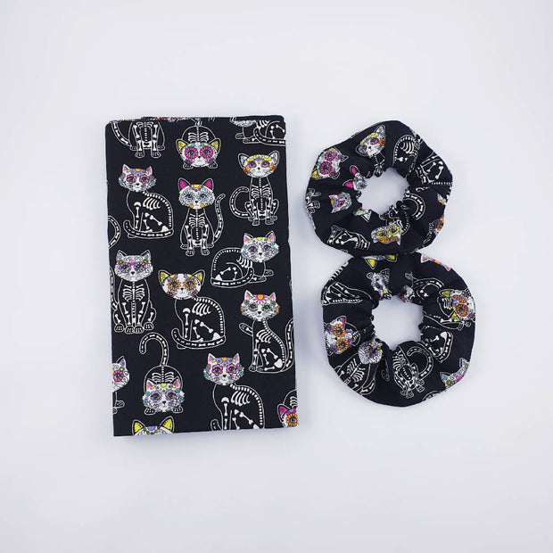 Cat Sugar Skull Print Adults Infinity Scarf. OOAK