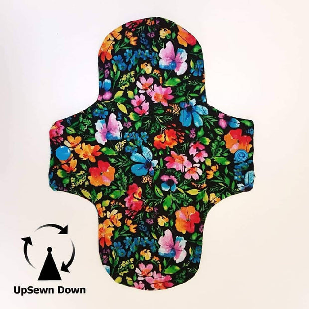 Light reusable menstrual period pads 4 pack - Rainbow Floral