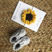 Baby Booties and Sunflower Headband Bundle