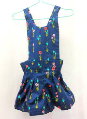 Blue floral cotton overalls