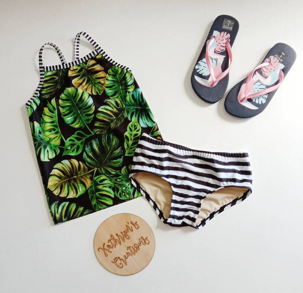 Girls' Monstera Leaf Tankini Swim Set Size 9