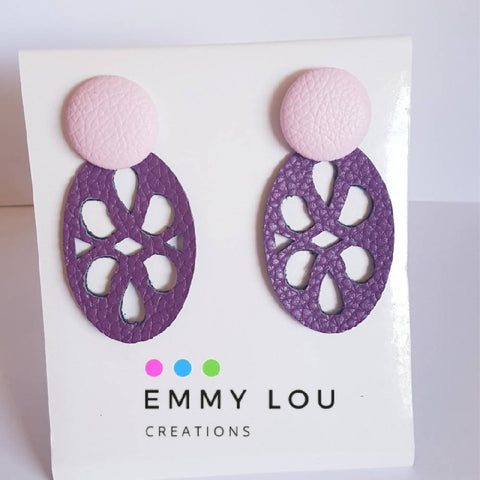 Purple Cut Out Faux Leather Earrings with Soft Pink Faux Leather Studs