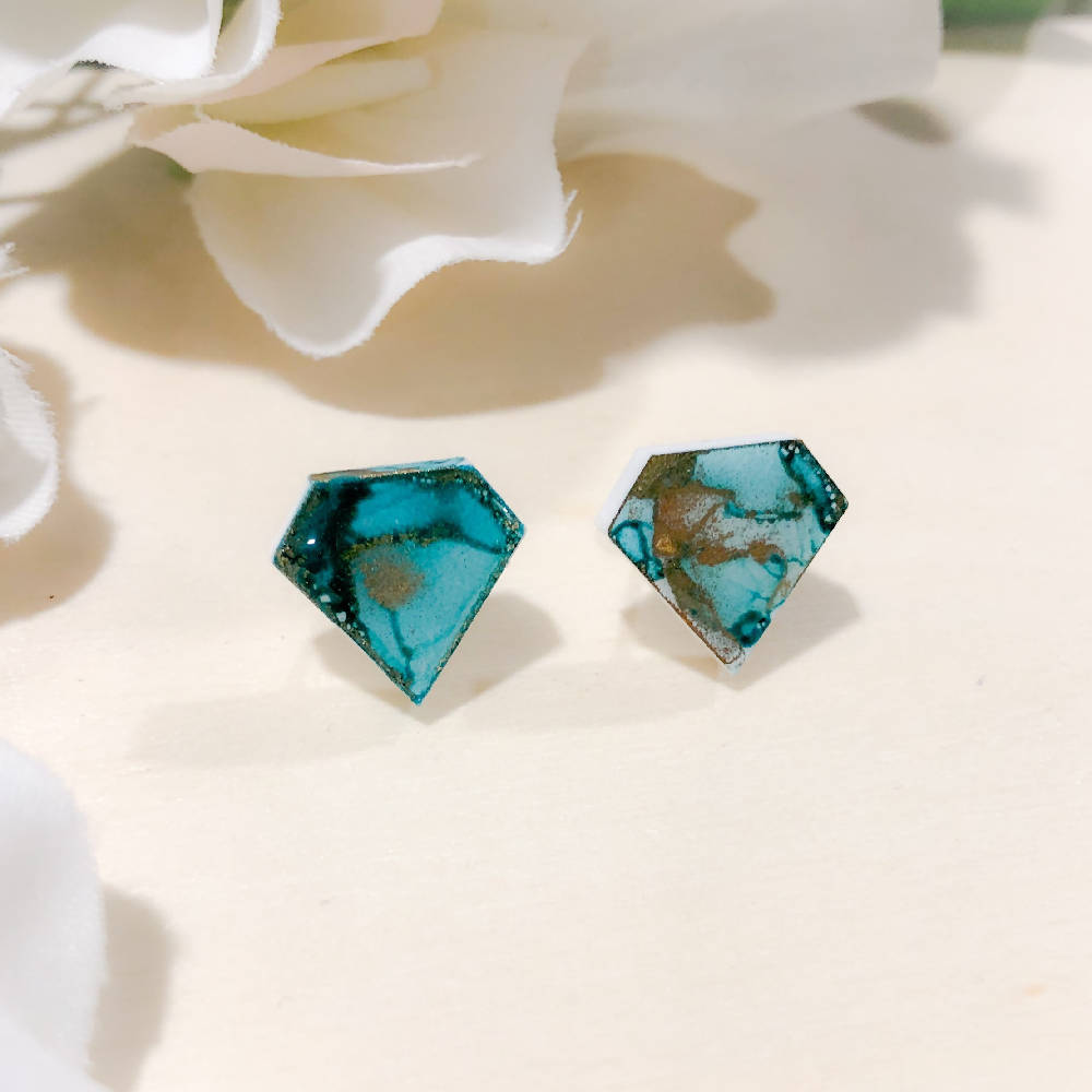 Diamond shaped studs - dark turquoise