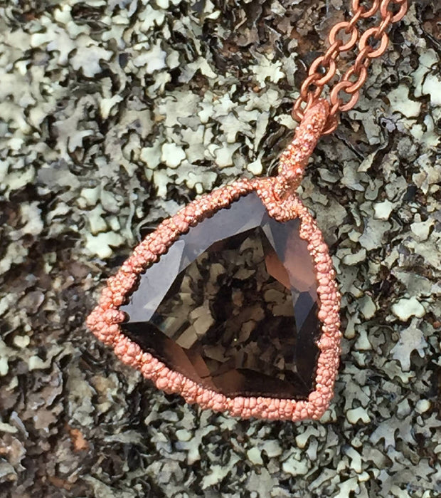 Textured Smoky quartz necklace