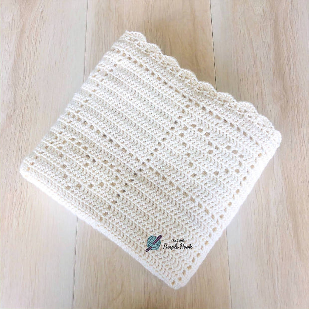 Crochet hearts baby blanket in off white