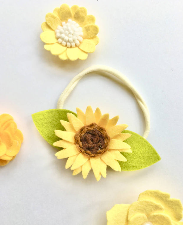 Whimsical summer girl sunflower Accessories, Newborn Baby Flower Crown Headband, Baby Shower Gift First Birthday cake smash outfit prop