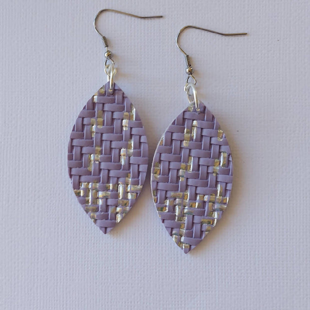 Holographic Basket Weave Faux Leather Earrings
