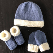 Snuggly baby gift set - knitted booties, hat & mittens with contrast cuff