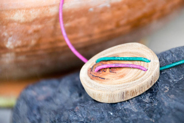 Reclaimed Wood Pendant & Adjustable Purple Teal Green Leather Cord Unisex Necklace