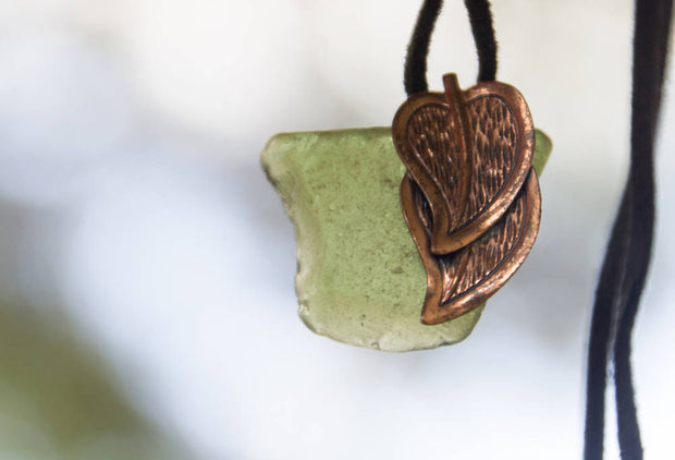Reclaimed Salvaged Sea Glass & Vintage Copper Leaf Pendant & Black Suede Cord Necklace