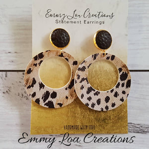 Animal Print Circle Cut Out Earrings