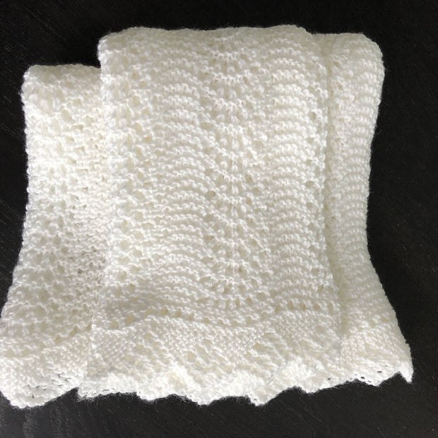 Classic lace knit round baby shawl