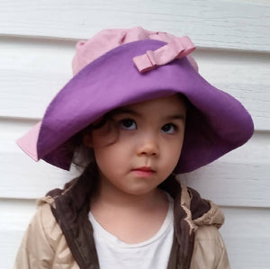 Wide Brim Floppy Sun Hat - Pink & Purple