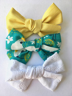 Hand-tied fabric hair bows