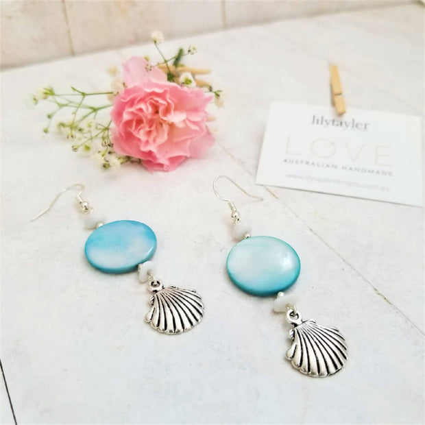 Blue Sea Coral Earrings