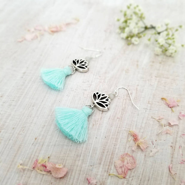 Lotus Flower Tassel Earrings