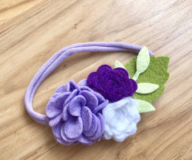 Purple Newborn Flower Headband, Baby Girls Felt Photo Prop, Baby Shower Gift, First Birthday Outfit, Whimsical Cake Smash