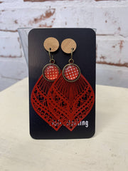 gorgeous red spot, wood and metal dangles-violetclothing