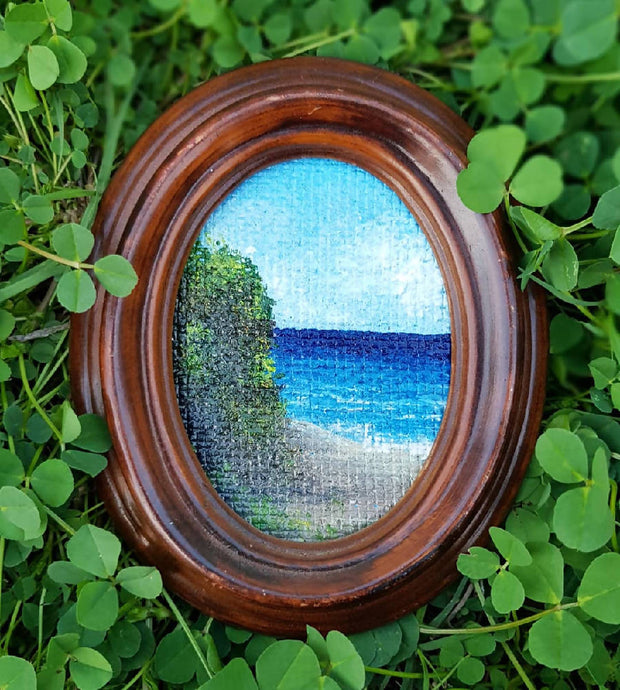 "Coastal painting - Miniature artwork in Oval Frame - ""Seascape No.1"""