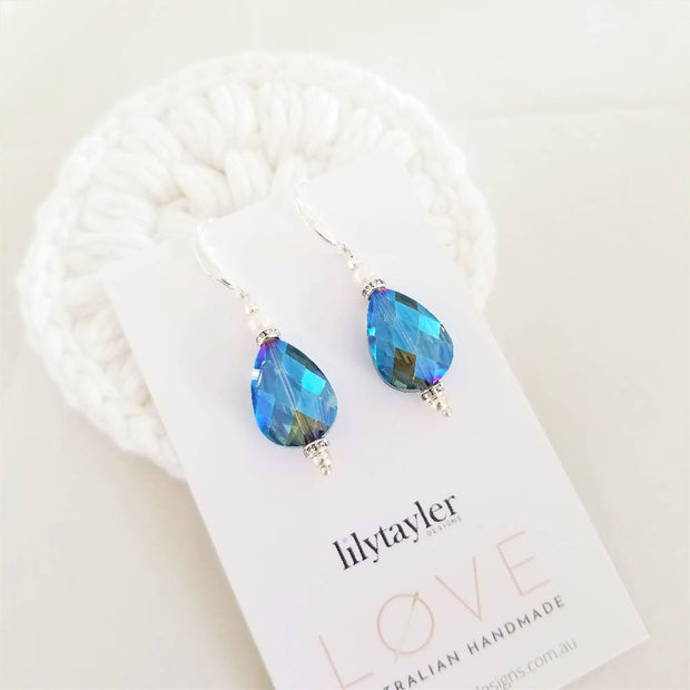 Blue Crystal Teardrop Fresh Water Pearl Earrings