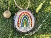 Personalised Wood Slice Ornament Christmas 2020, Custom Rainbow Christmas Bauble, Lockdown Rainbow Christmas Decorations, Wooden Name Bauble