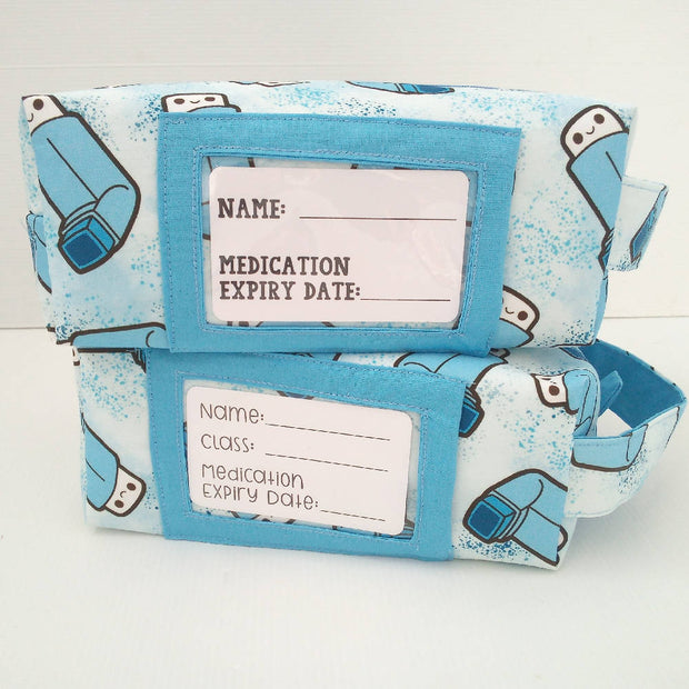 Boxy Zip Case in ventolin puffer print with label display window