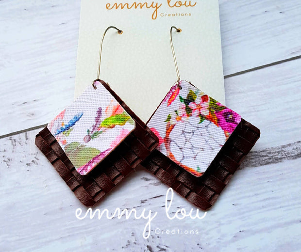 Brown & Floral Dream Catcher Faux Leather Earrings