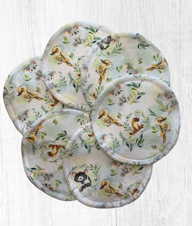Reusable Breast Pads / Nursing Pads, Baby Aussie Animals, Pack of 3, Pack of 5
