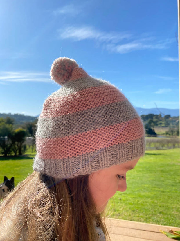 Girl's beanie with pom pom - fits up to age 4