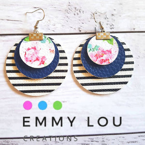 LARGE Stripes, Navy & Floral Triple Layer Round Faux Leather Earrings