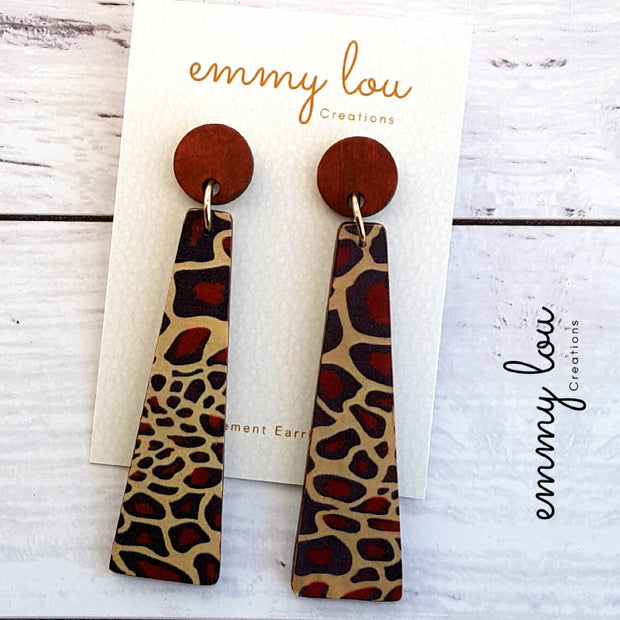 Long Wooden Decoupage Earrings - Zebra Print