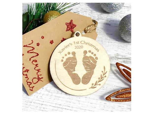 personalised christmas decoration - baby's first christmas footprints