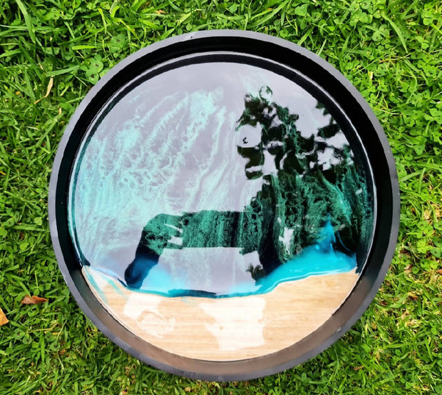 Resin Art Round Footed Tray
