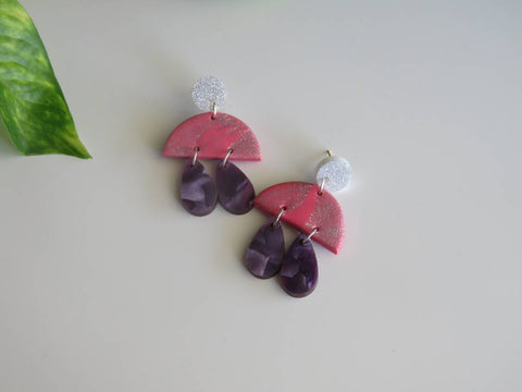Pink, Purple and Silver Drops