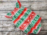 Christmas Deer Romper, red and green romper
