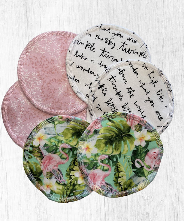 Reusable Breast Pads / Nursing Pads - tropical pink 3 pack