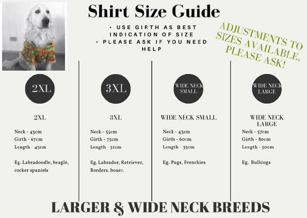 Pet Shirt - The Bees - Small to XLarge and wide neck sizes!