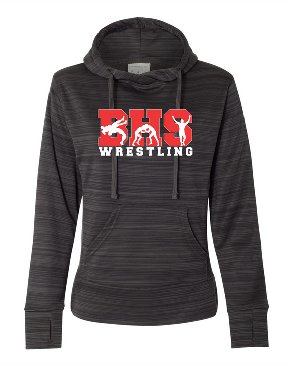 Bobcat Wrestling Women's Odyssey Striped Performance Fleece Lapover Hooded Sweatshirt - 8662 - Design BHS10WR