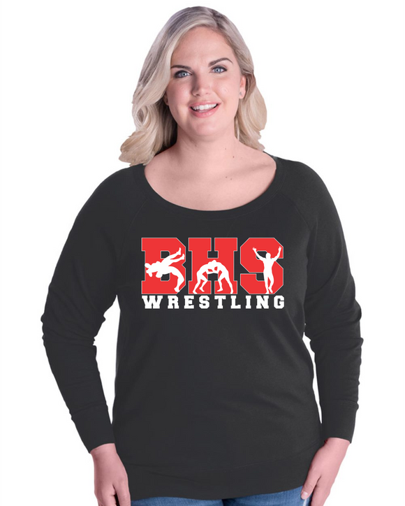 Bobcat Wrestling Women's Curvy Slouchy Pullover - 3862- Design BHS10WR