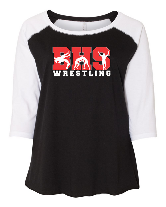 Bobcat Wrestling Curvy Collection Women's Baseball Tee - 3830 - Design BHS10WR