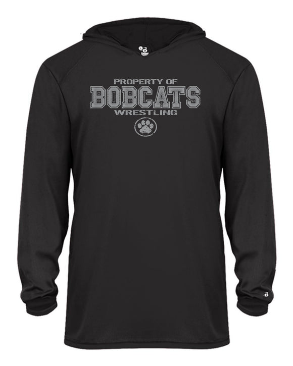 Bobcat Wrestling B-Core Long Sleeve Youth Hood Tee - 2105 - Design BHS01